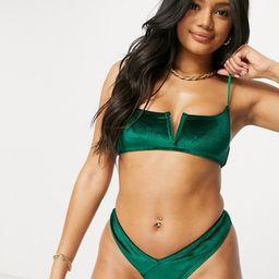 South Beach mix and match bikini set in jade velvet   ASOS (Global)