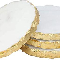 P & E Coasters for Drinks | Set of 4, Luxury White Marble Coasters with Gold Edges, Housewarming ... | Amazon (US)