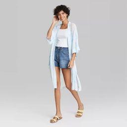 Women's Sheer Dye Effect Kimono - Wild Fable™ Blue/Green One Size | Target