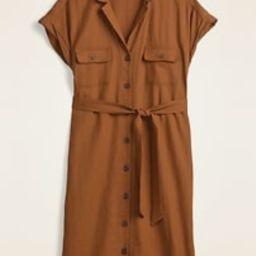Waist-Defined Linen-Blend Tie-Belt Shirt Dress for Women | Old Navy (US)