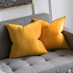 MIULEE Pack of 2 Decorative Velvet Throw Pillow Cover Soft Orange Yellow Pillow Cover Soild Squar... | Amazon (US)