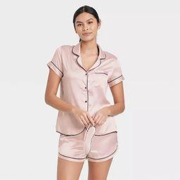 Women's 3pc Satin Notch Collar Top Pajama Set - Stars Above™   Target