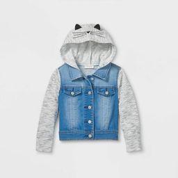 Toddler Girls' French Terry Kitty Jean Jacket - Cat & Jack™ Medium Wash   Target