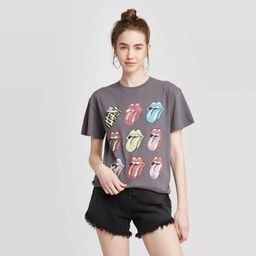 Women's Rolling Stones Short Sleeve Boyfriend Graphic T-Shirt (Juniors') - Gray | Target
