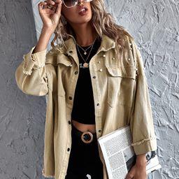 SHEIN Mantel mit sehr tief angesetzter Schulterpartie, Perlen und ungesäumtem Saum | SHEIN