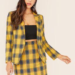 SHEIN Notched Collar Plaid Blazer & Skirt Set | SHEIN