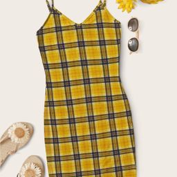 SHEIN Plaid Cami Bodycon Mini Dress | SHEIN