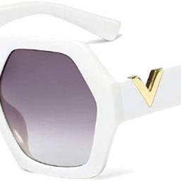 Extra Large Women Sunglasses Geometrical Hexagonal Bold Frame Oversized Glasses | Amazon (US)