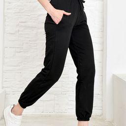 AQE Fashion Women's Sweatpants BLACK - Black Joggers - Women | Zulily