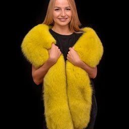 Saga Furs Yellow Lemon Blue Fox Fur Shoulder Wrap Scarf Boa | Etsy | Etsy (US)