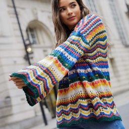 SHEIN Drop Shoulder Bell Sleeve Colorblock Pointelle Knit Sweater   SHEIN
