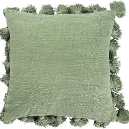 Creative Co-op Square Cotton Pillow with Tassels, Green | Amazon (US)