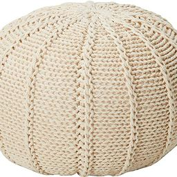 Christopher Knight Home Agatha Knitted Cotton Pouf, Beige | Amazon (US)