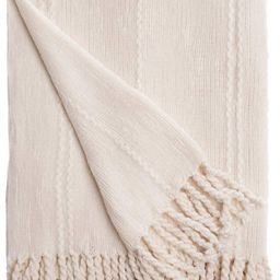 """Battilo Cable Knit Woven Luxury Throw Blanket with Tasseled Ends, 50""""x 60"""" White 