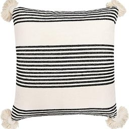 Creative Co-op Cream Cotton & Chenille Black Stripes & Tassels Pillows | Amazon (US)