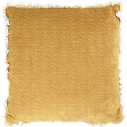 """Bloomingville 18"""" Square Polyester Fringed Ends Pillow, Mustard 