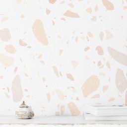 Pink Cream Terrazzo Wallpaper. Removable and Self Adhesive. Peel and Stick Wallpaper. Designer Wa...   Etsy (US)