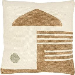 Creative Co-op Square Cream & Tan w/Gold Geometric Pattern Woven Cotton & Wool Pillow, Cream | Amazon (US)