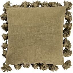 Creative Co-op Square Cotton Pillow with Tassel, Olive Green | Amazon (US)
