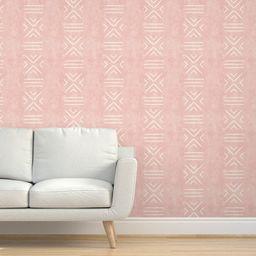Geometric Stripe Wallpaper - Mudcloth Tile by littlearrowdecor - Blush Pink  Weathered Look Wallp...   Etsy (US)