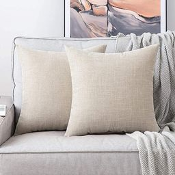 MIULEE Pack of 2 Decorative Square Throw Pillow Covers Farmhouse Style Linen Cushion Cases Vintag... | Amazon (US)