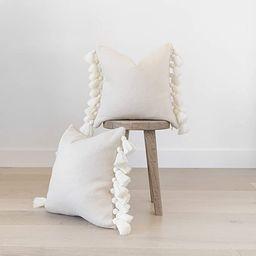 "Woven Nook Decorative Tassel Pom-Pom White Throw Pillow Covers, Set of 2 (18"" x 18"") | Amazon (US)"