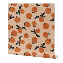 Fruit Wallpaper - Mid-century Clementines On Sandy Beige by erin__kendal - Vintage  Retro Orange ...   Etsy (US)