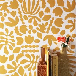Removable Wallpaper // Muse Mustard // Removable and perfect for renters   Etsy (US)