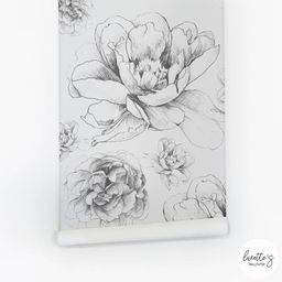 Vintage Peony Removable Wallpaper, Floral Drawing, Peel and Stick or Traditional material   Etsy (US)