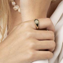 Dainty signet ring, Gold signet, Sun signet, Dainty ring, Minimalist ring, Silver ring, Statement... | Etsy (US)