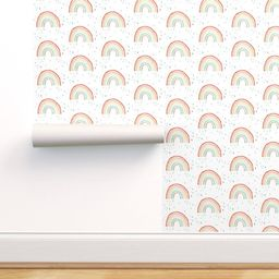 Rainbow Wallpaper - Rainbow Classic Muted By Erinanne - Rainbows Custom Printed Removable Self Ad...   Etsy (US)