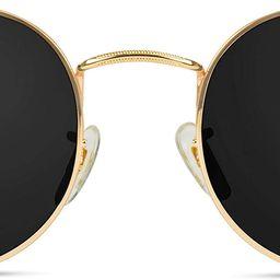 Amazon.com: WearMe Pro - Reflective Lens Round Trendy Sunglasses ( Gold Frame / Black Lens, 51): ... | Amazon (US)