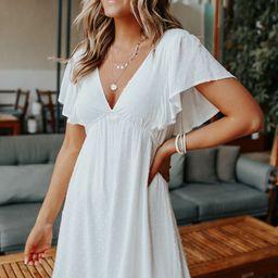 V-Neck White Dotted Empire Dress | Magnolia Boutique