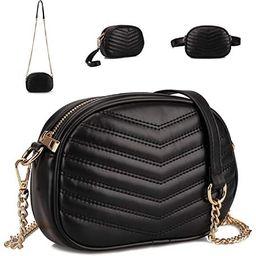 GLADDON 3 in 1 Fashion Fanny Packs for Women Black Waist Bag Stylish Crossbody Purse Ladies Clutc... | Amazon (US)
