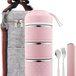 YBOBK HOME Bento Lunch Box Leakproof Stainless Steel Stackable Lunch Box with Bag and Reusable Fl... | Amazon (US)