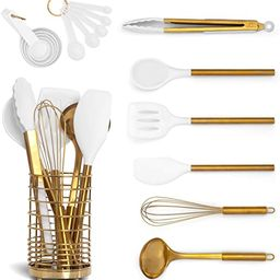 White Silicone and Gold Cooking Utensils Set with Gold Utensil Holder: 17PC Set Includes White & ... | Amazon (US)