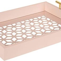 """Kate and Laurel Caspen Rectangle Cut Out Pattern Decorative Tray with Gold Metal Handles, 16.5"""" x... 