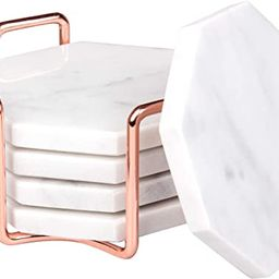 D'Eco White Carrara Marble Coasters with Rose Gold Holder- Set of 5 - Tabletop Protection for A... | Amazon (US)