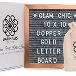 Marble Gray Felt Letter Board 10x10 inches with Metallic Copper Gold Colored Frame by Bauhaus Dec... | Amazon (US)