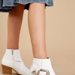 Sleek Style White Ankle Booties | Red Dress