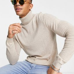 Topman considered marl essential roll neck knitted jumper in stone | ASOS (Global)