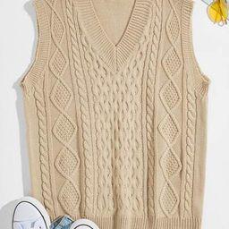 Men Cable Knit V-neck Sweater Vest | SHEIN
