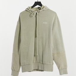 COLLUSION Unisex hoodie with reverse fabric detail in pigment dye | ASOS (Global)