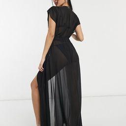 CK Swim st tropez tie front beach maxi dress in black   ASOS (Global)