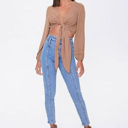 Plunging Tie-Front Crop Top   Forever 21 (US)