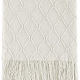 """BOURINA Beige Throw Blanket Textured Solid Soft Sofa Couch Cover Decorative Knitted Blanket, 50"""" ... 
