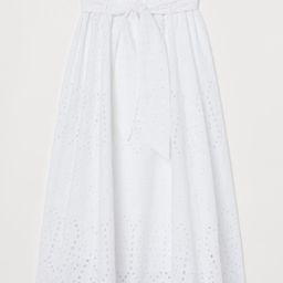 Calf-length, bell-shaped skirt in a cotton weave with broderie anglaise. High paper bag waist wit... | H&M (UK, IE, MY, IN, SG, PH, TW, HK, KR)