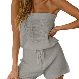 Chang Yun Womens Summer Jumpsuits Casual Loose Sleeveless Off Shoulder Elastic Waist Romper Loung... | Amazon (US)
