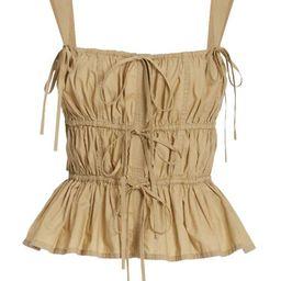 Lulu Ruched Peplum Cotton Top   Moda Operandi (Global)