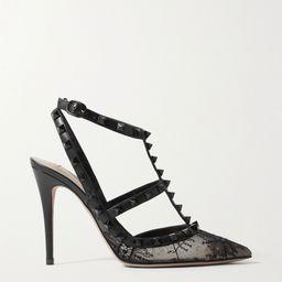 Valentino Garavani Rockstud 100 leather-trimmed lace pumps | Net-a-Porter (US)